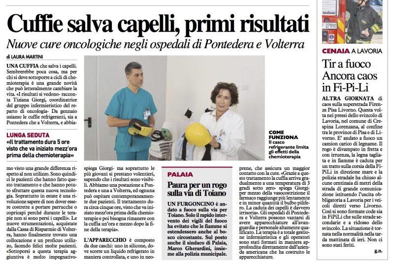 """La Nazione Pontedera: """"Cuffie salva capelli, i primi risultati"""""""