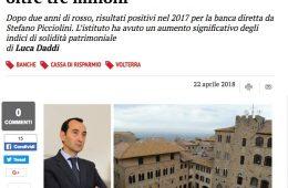 """Il Tirreno.it: """"Cassa di Volterra ritrova l'utile: oltre tre milioni"""""""