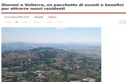 """GoNews.it: """"Giovani a Volterra, un pacchetto di sconti e benefici per attrarre nuovi residenti"""""""