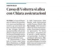 """Il Tirreno.it: """"Cassa di Volterra si allea con Chiara assicurazioni"""""""