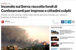 Incendio sul Serra: raccolta fondi di Confesercenti per imprese e cittadini colpiti