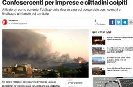 """PisaToday: """"Incendio sul Serra: raccolta fondi di Confesercenti per imprese e cittadini colpiti"""""""