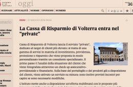 """Toscana 24 – Il Sole 24Ore: """"La Cassa di Risparmio di Volterra entra nel Private"""""""