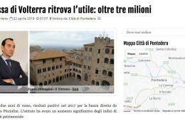 """GeosNews.com: """"Cassa di Volterra ritrova l'utile: oltre 3 milioni"""""""