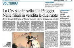 """La Nazione: """"La CRV sale in sella alla Piaggio. Nelle filiali in vendita le due ruote"""""""