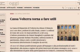 """Toscana 24 Il Sole 24 Ore: """"Cassa Volterra torna a fare utili"""""""