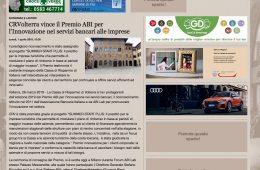 """La Gazzetta di Lucca: """"CRVolterra vince il Premio ABI per l'Innovazione nei servizi bancari alle imprese"""""""