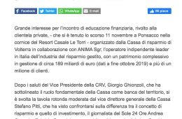 """""""Go News"""": Al Resort Casale Le Torre un incontro di educazione finanziaria"""