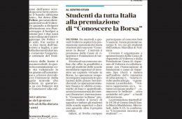 """Il Tirreno: """"Studenti da tutta Italia alla premiazione di 'Conoscere la Borsa'"""""""