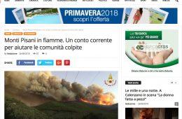 """Agenzia Impress.it: """"Monti Pisani in fiamme. Un conto corrente per aiutare le comunità colpite"""""""