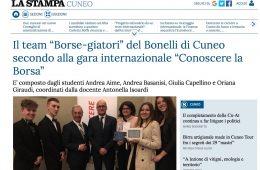 """LaStampa.it – Cuneo: """"Il team 'Borse-giatori' del Bonelli di Cuneo secondo alla gara internazionale di 'Conoscere la Borsa'"""""""