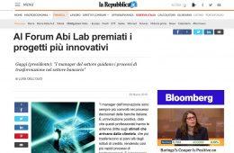 """La Repubblica.it: """"Al Forum Abi Lab premiati i progetti più innovativi"""""""