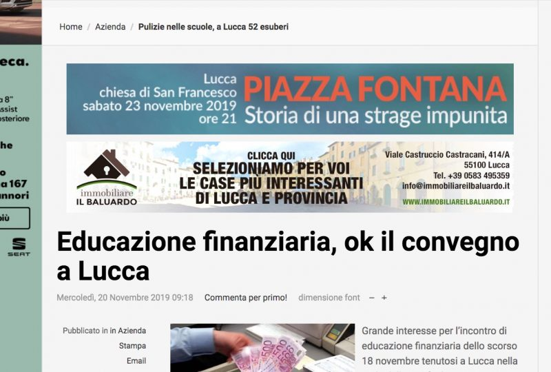 """Lucca in Diretta"": Educazione finanziaria, ok il convegno a Lucca"
