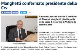 """QuiNews Volterra: """"Manghetti confermato presidente della Crv"""""""