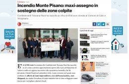 """Pisa Today: """"Incendio Monte Pisano: maxi-assegno in sostegno delle zone colpite"""""""