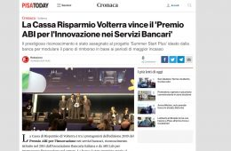 """Pisa Today: """"La Cassa Risparmio Volterra vince il 'Premio ABI per l'Innovazione nei Servizi Bancari'"""""""
