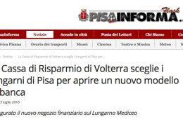 """PisaInforma: """"La Cassa di Risparmio di Volterra sceglie i lungarni di Pisa per aprire un nuovo modello di banca"""""""