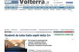 """QuiNews Volterra.it: """"Studenti da tutta Italia ospiti della Crv"""""""