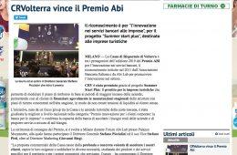 "QuiNewsVolterra.it: ""CRVolterra vince il Premio Abi"""