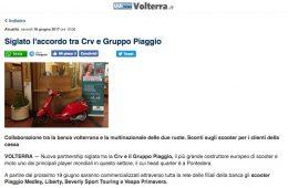"""QuiNews Volterra: """"Siglato l'accordo tra Crv e Gruppo Piaggio"""""""